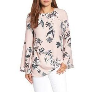 Halogen Bow Back Flare Sleeve Tunic Floral Print